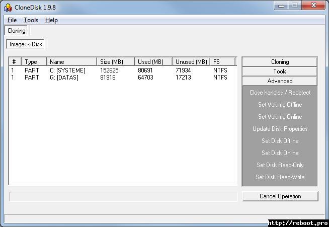 CloneDisk - reboot pro